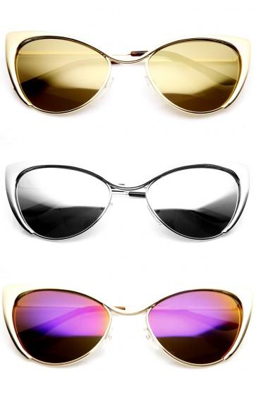 Womens Fashion Full Metal Color Mirrored Lens Cat Eye Sunglasses