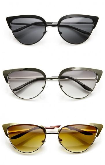 Womens Mod Fashion Thin Frame Full Metal Cat Eye Sunglasses