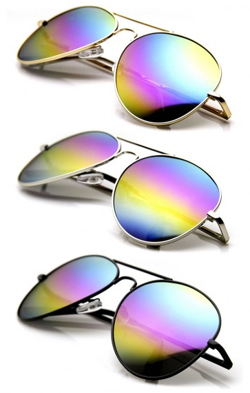 Classic Metal Tear Drop Rainbow Mirrored Lens Aviator Sunglasses