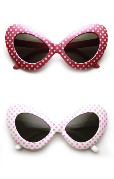 Oversized Fun Polka Dot Colorful Party Novelty Butterfly Cat eye Sunglasses