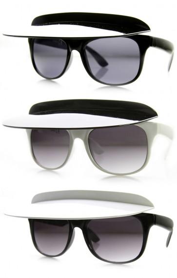 High Fashion Design Catwalk Runway Flip-Up Shade Visor Sunglasses