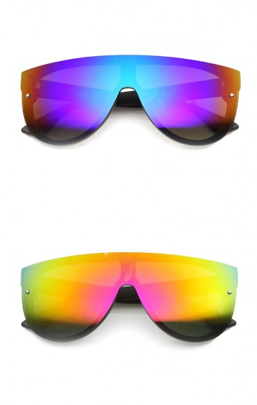 Mens Shield Sunglasses With UV400 Protected Mirrored Lens