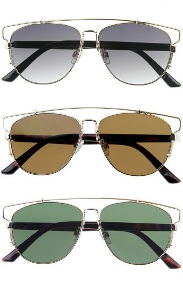 Modern Fashion Full Metal Crossbar Technologic Flat Lens Aviator Sunglasses 54mm