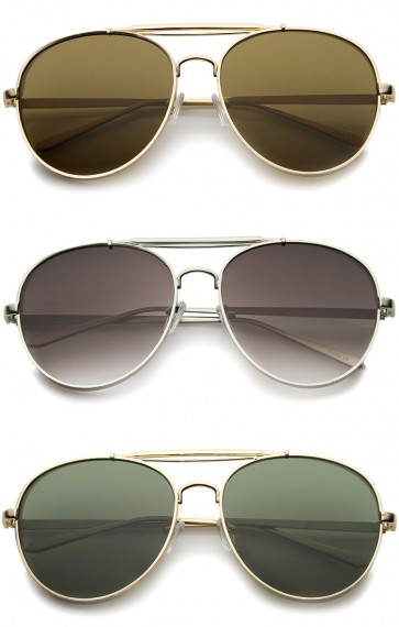 Modern Fashion Flat Lens Full Metal Side Cover Frame Double Bridged Aviator Sunglasses