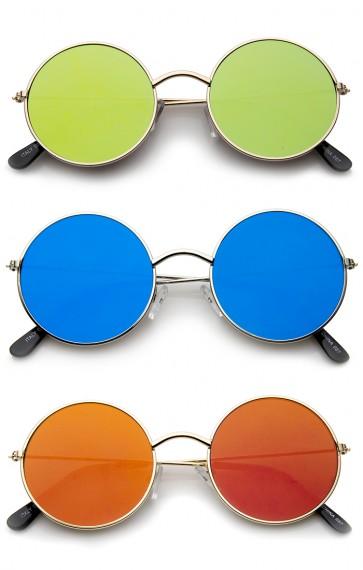 Lennon Style Full Metal Frame Iridescent Mirror Flat Lens Round Sunglasses 48mm