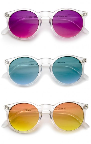 Modern Translucent Frame Gradient Color Lens Round Horn Rimmed Sunglasses 49mm