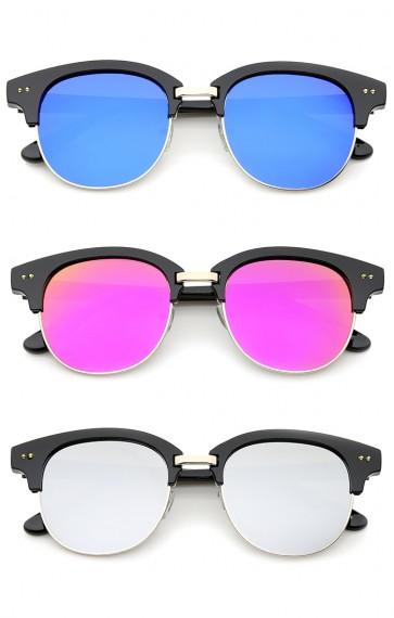 Bold Metal Nose Bridge Color Mirror Lens Round Half-Frame Sunglasses 52mm