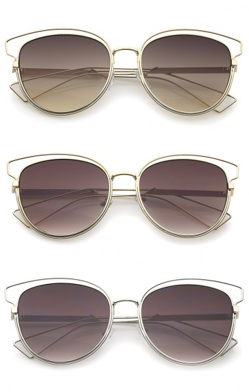 Womens Fashion Open Metal Frame Neutral-Colored Lens Cat Eye Sunglasses 55mm