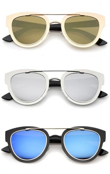Modern Thin Metal Frame Crossbar Round Lens Horn Rimmed Sunglasses 49mm