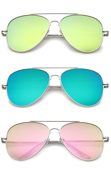 Large Full Metal Color Mirror Teardrop Flat Lens Aviator Sunglasses 60mm