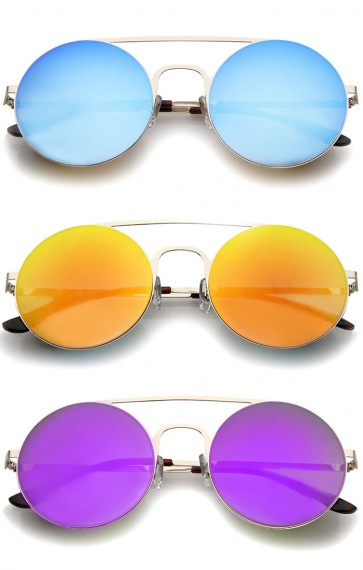 Modern Slim Double Nose Bridge Colored Mirror Flat Lens Round Sunglasses 53mm