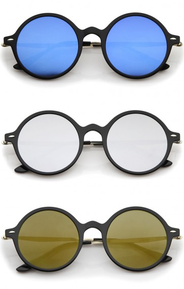 Retro Thin Frame Slim Temples Mirror Flat Lens P3 Round Sunglasses 43mm