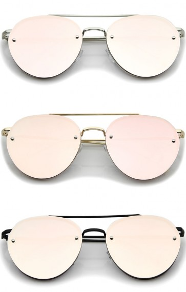 0dfeade6e444c Modern Slim Temples Brow Bar Rimless Pink Mirror Flat Lens Aviator ...