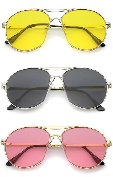Oversize Semi-Rimless Brow Bar Round Flat Lens Aviator Sunglasses 59mm