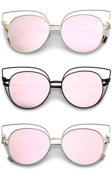 Oversize Metal Cutout Frame Arrow Accent Pink Mirror Flat Lens Cat Eye Sunglasses 57mm
