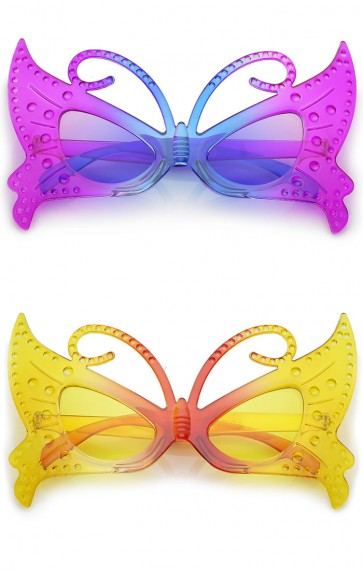 Novelty Party Costume Colorful Gradient Fairy Butterfly Glasses 42mm