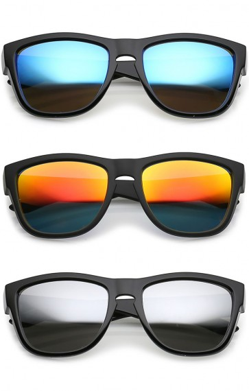 Classic Thick Arms Keyhole Mirrored Square Lens Horn Rimmed Sunglasses 54mm