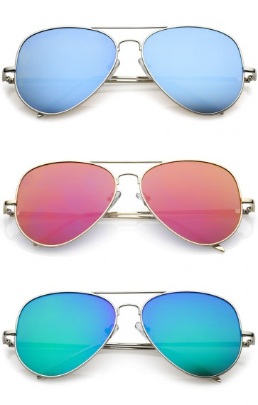 Classic Metal Double Nose Bridge Color Mirror Flat Lens Aviator Sunglasses 59mm