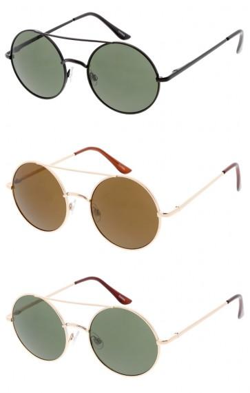 Unisex Crossbar Round Neutral Colored Lens Wholesale Sunglasses