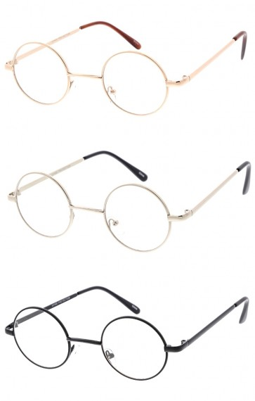 Unisex Small Round Circle Metal Frame Clear Lens Wholesale Glasses