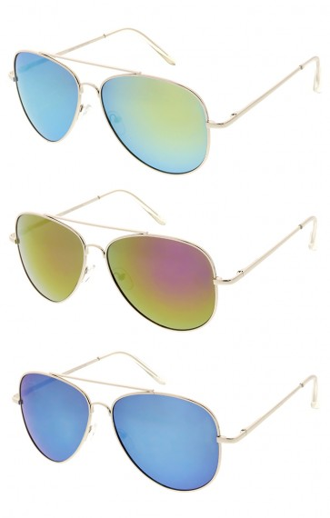 Metal Mirror Lens Aviator Wholesale Sunglasses