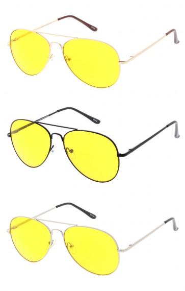 Retro Metal Aviator With Yellow Driving Lens Wholesale Sunglasses