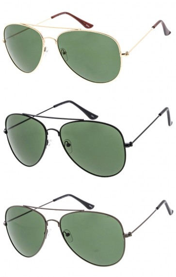 Unisex Classic Aviator Metal Frame Green Lens Wholesale Sunglasses