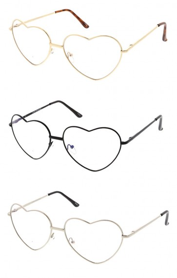 Wholesale Metal Heart Clear Lens Sunglasses