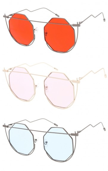Wire Cut Out Frame Color Lens Wholesale Sunglasses