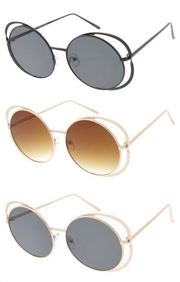 Oversized Round Cutout Frame Womens Wholesale Sunglasses