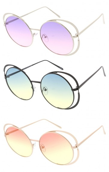 Oversized Round Cutout Frame Color Lens Womens Wholesale Sunglasses