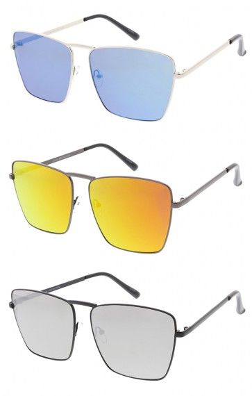 Modern Metal Mirror Lens Aviator Wholesale Sunglasses