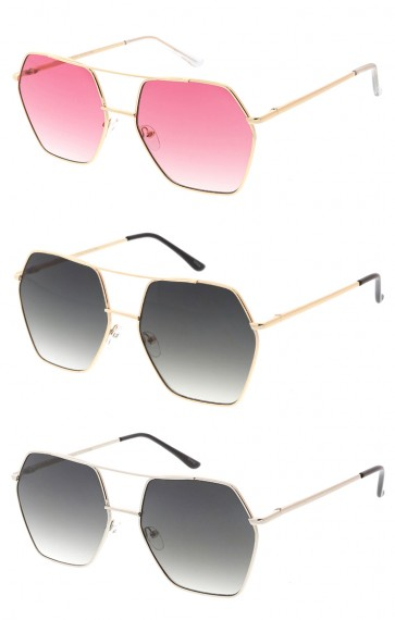 Oversized Metal Square Aviator Womens Wholesale Sunglasses