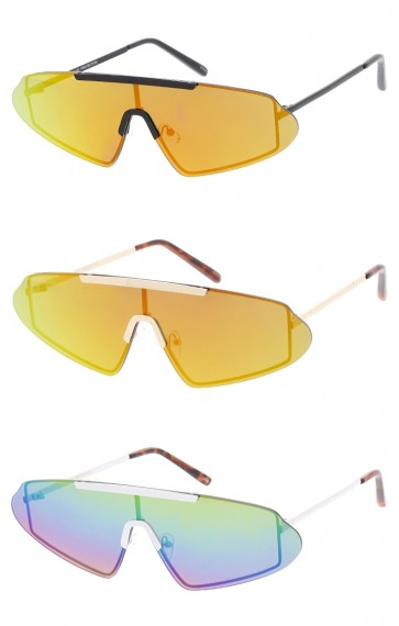 Unisex Futuristic Rimless Shield Aviator Colored Mirror Lens Wholesale Sunglasses
