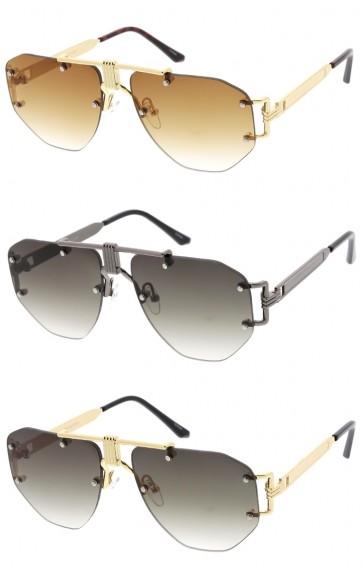 Unisex Metal Accent Rimless Geometric Aviator Gradient Lens Wholesale Sunglasses