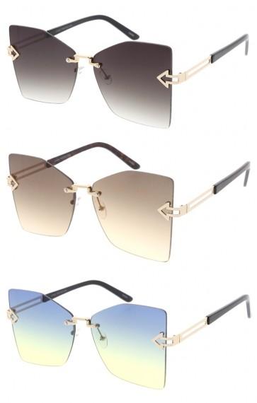 Oversize Metal Arrow Rimless Square Gradient Lens Wholesale Sunglasses