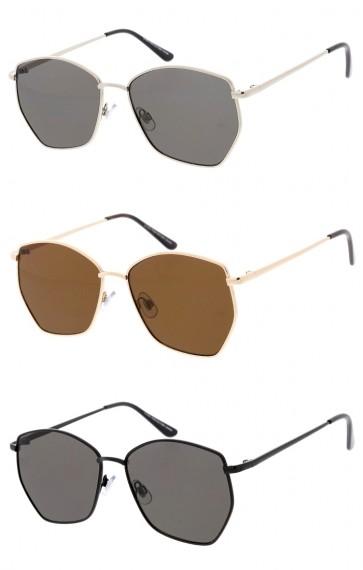 Unisex Geometric Metal Frame Neutral Colored Lens Wholesale Sunglasses