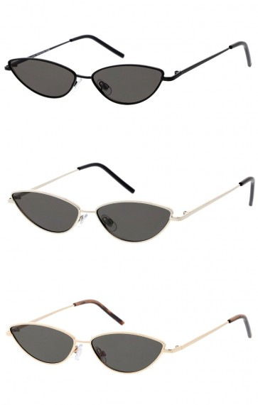 Women's Small Metal Cat Eye Neutral Colored Flat Lens Wholesale Sunglasses