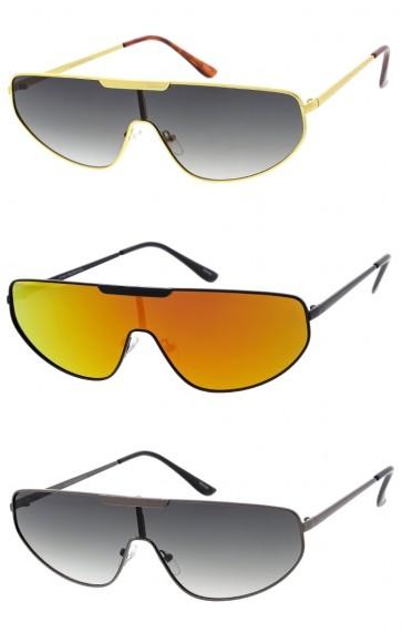 Unisex Shield Metal Frame Mirrored Lens Futuristic Wholesale Sunglasses
