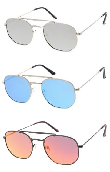 Unisex Small Hexagon Metal Frame Mirrored Lens Wholesale Sunglasses