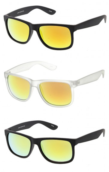 Reflective Lens Horned Rim Wholesale Sunglasses