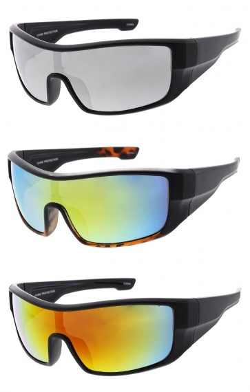 Sports Wrap Around Plastic Frame Mirrored Lens Wholesale Sunglasses