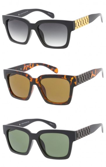 Unisex Chain Arms Horn Rimmed Square Lens Wholesale Sunglasses