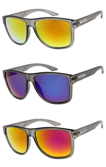 Men's KUSH Large Horn Rimmed Mirrored Square Lens Wholesale Sunglasses