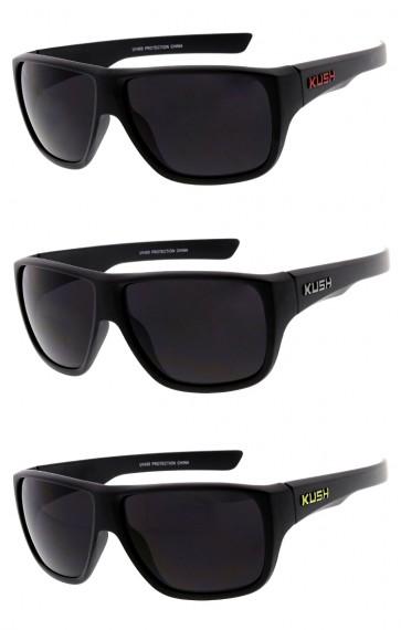 Men's Colored KUSH Logo Large Square Smoke Lens Wholesale Sunglasses
