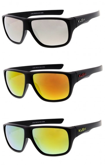 Men's KUSH Flat Top Square Mirrored Lens Wrap Wholesale Sunglasses