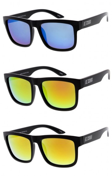 Men's KUSH Square Horn Rimmed Mirrored Lens Wide Arm Wholesale Sunglasses