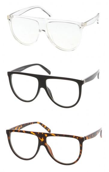 Oversize Bold Flat Top Clear Lens Aviator Wholesale Eyeglasses