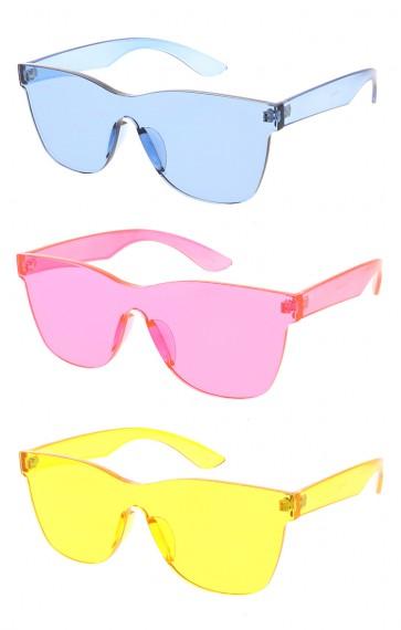 Retro Modern Mono Futuristic Pantone Lens Square Wholesale Sunglasses
