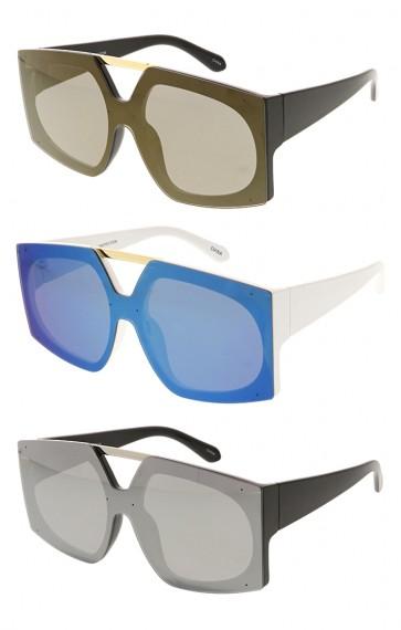Fashion Square Womens Designer Mirror Lens Wholesale Sunglasses